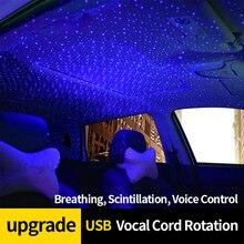 LEEPEE dekoracja na dach lampa lampka wewnętrzna samochodowa lampa atmosfera lampa projektora samochodowego gwiaździste niebo lampka nocna z obracającą się gwiazdą