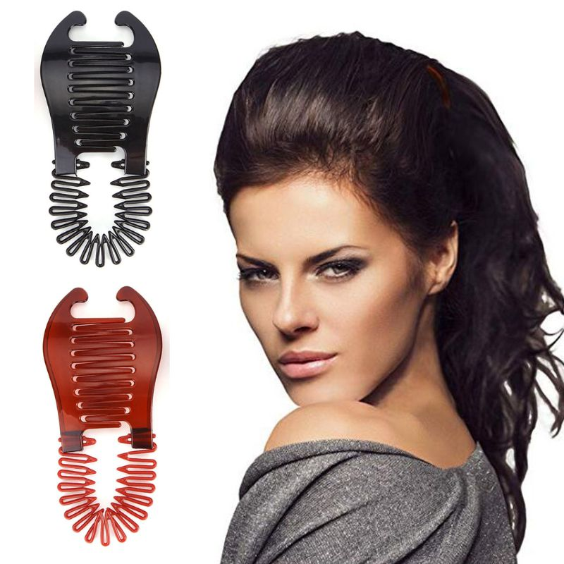 2pcs/set Women Hollywood Large Comb Banana Clip Hair Riser Claw Hair Accessory 2 Colors