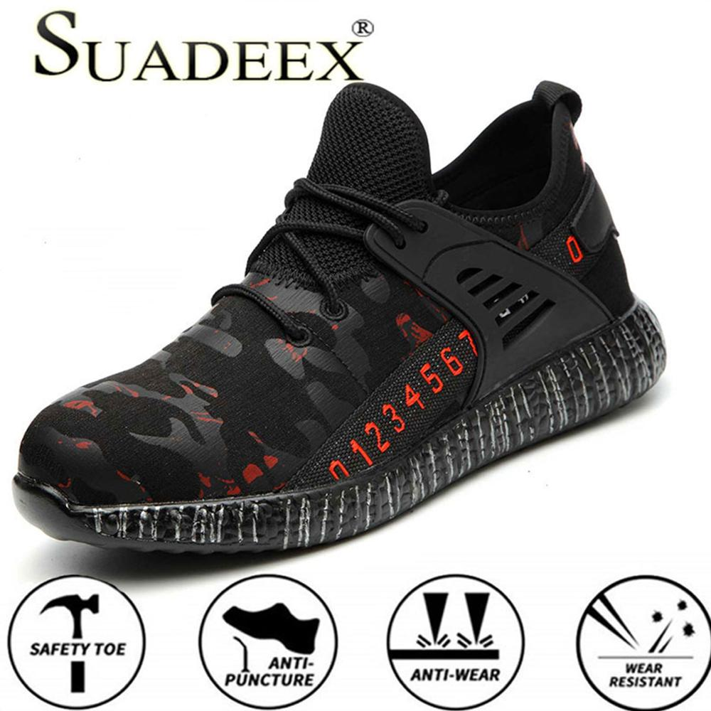 SUADEEX Men Work Safety Shoes Outdoor Steel Toe Footwear Military Ankle Work Boots Indestructible Stylish Breathable Sneakers