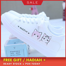 Women Sneakers Fashion Breathble Vulcanized Shoes Pu Cute Cat Cartoon Lace up Casual White Women Shoes pu patchwork lace up sneakers