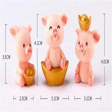 Cute Miniature Pig Figurine Lucky Piggies Cake Topper Decorations Resin DIY Craft Home Desktop Decoration