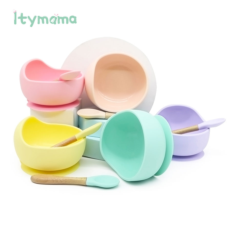 7.6US $ 46% OFF Baby Silicone Children's Dishes Dining Plate Top For Feeding BPA Free Tableware Frui...