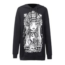 Rosetic Women Lazy Loose Hooded Sweatshirt Gothic Print Warm Soft Top Casual Hoodie  Autumn Winter Black Coat