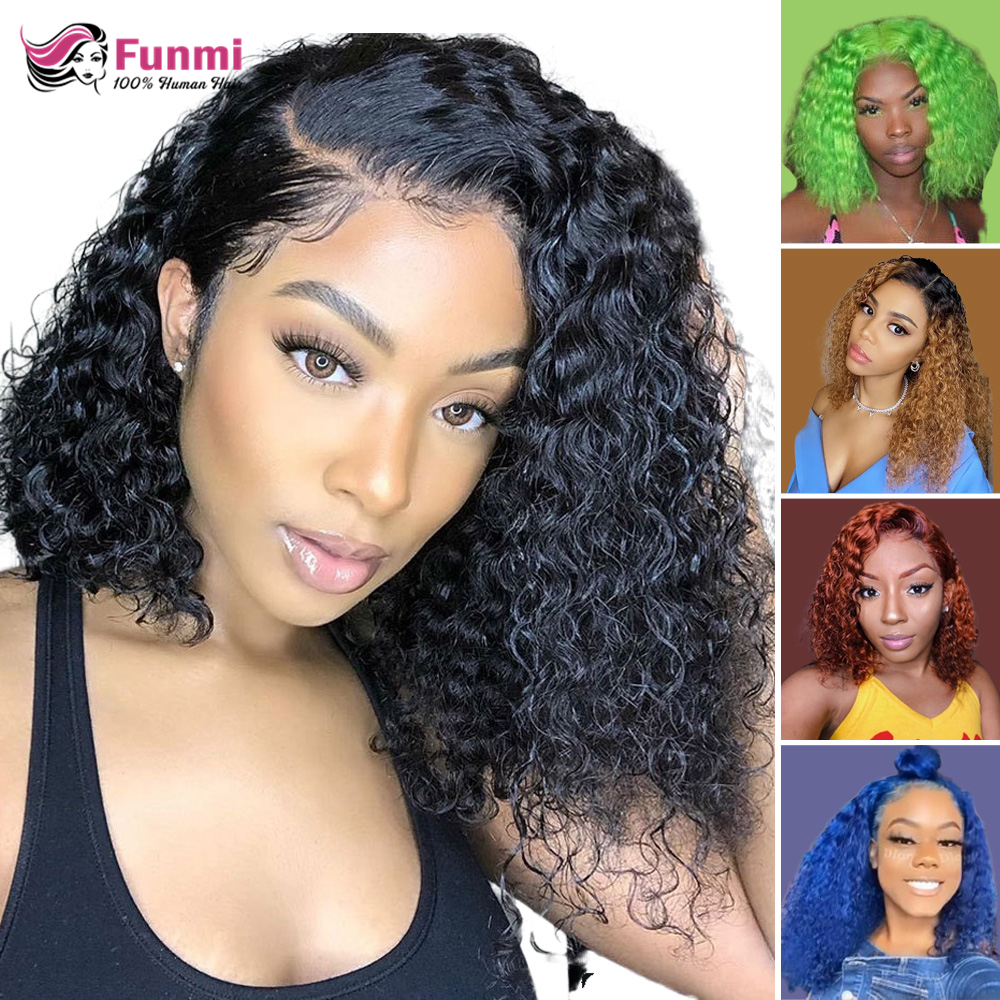 Jerry Curly Lace Front Human Hair Wigs With Baby Hair Brazilian Hair Curly Bob Wigs For Black Women Pre-Plucked Wig 613 1B/27