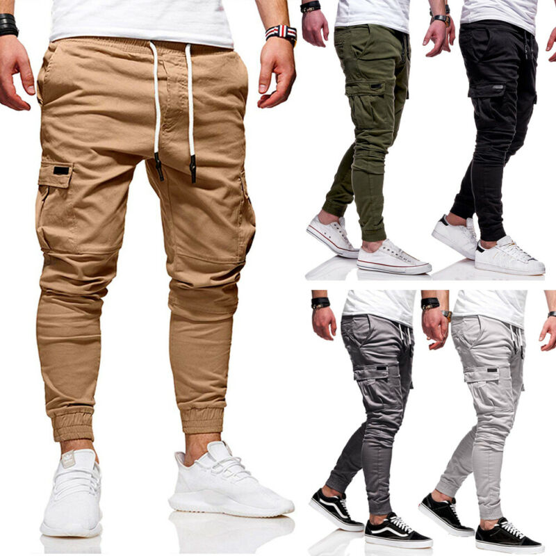 Hot Popular Men's Slim Fit Urban Straight Leg Trousers Casual Pencil  Jogger Cargo Long Pants Fashion