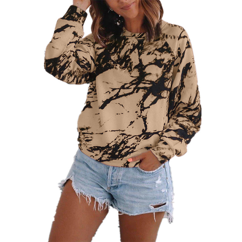 Plus Size T Shirts Fashion Womens Casual Loose O-neck Tie-dye Printed Long Sleeve Tops Girls T-shirt Женские Футболки