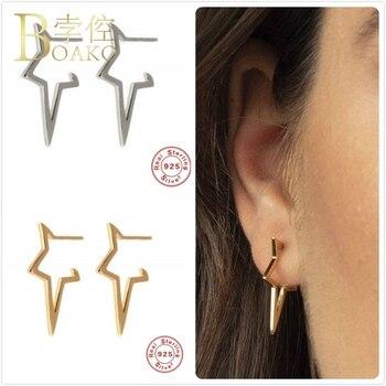 Pendientes de plata de ley 925 para mujer, pendientes en forma de estrella, regalo para chica, pendientes geométricos, aretes para cartílago femenino Z5