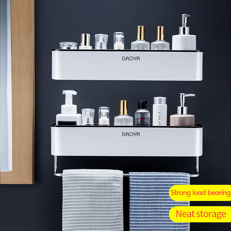 Bathroom Storage With Towel Rack Plastic Shelf Self-Adhesive Wall Holder For Toilet Waterproof Bath Organizer Cosmetic Shelf