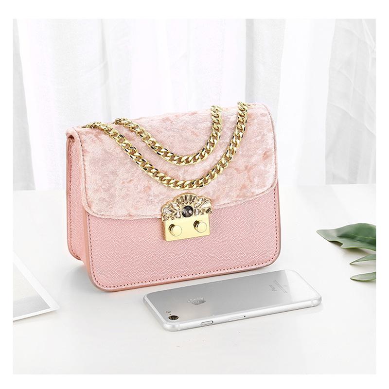 fashion crossbody bags for women 2019 luxury brand velvet black pink mini women shoulder bag with chain strap rhinestone diamond