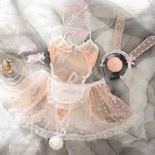 Fairy Star Print Lace Women Rabbit Bunny Maid Cosplay Costume Party Sexy Erotic Lingerie Outfit Fancy Bodysuit Jumpsuit Babydoll