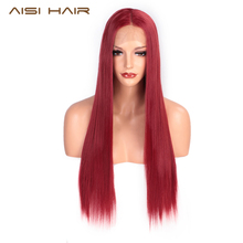 цена на AISI HAIR Red Lace Front Wig Long Straight Synthetic Wigs for Black Women Heat Resistant Fiber Natural Wigs