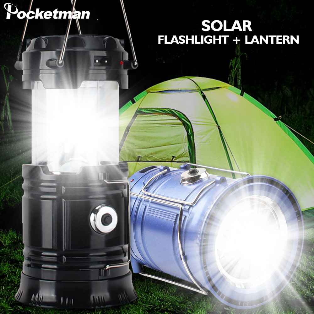 Solar Power Collapsible Lamp Flashlight Portable Camping Light Rechargeable Lantern Outdoor Tent Light Emergency Light Torch