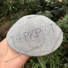 Customized, Personalized, light grey heavy linen kippah, kippot, kipot with burgundy embroidery for wedding