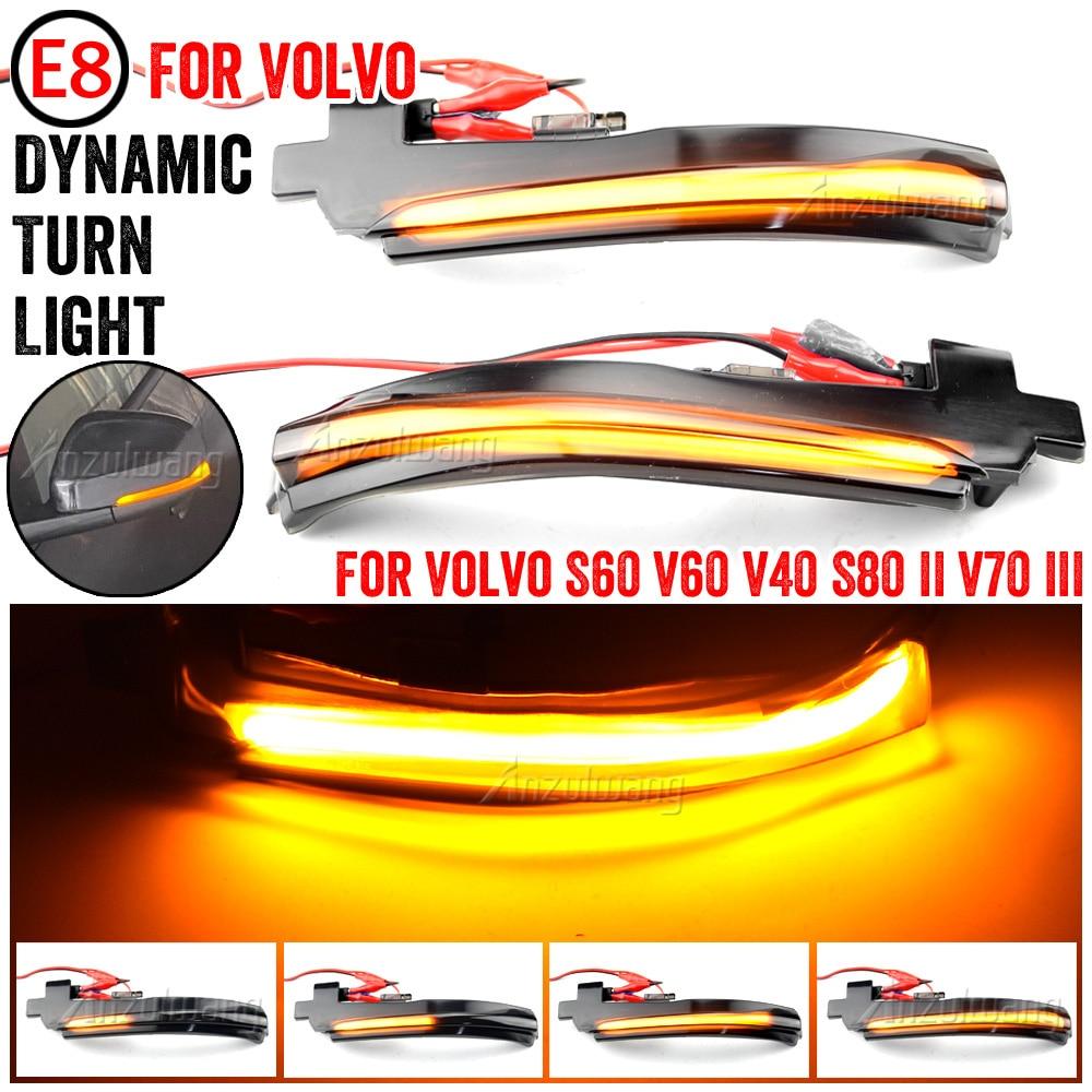 2X LED Sequential Dynamic side mirror blinker Light Turn Signal Lamp For Volvo S60 CC S60 II S80 II V40 CC 40 II V60 V60 CC V70