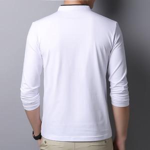 Image 2 - Miacawor Mùa Xuân Mới Nam Áo 95% Cotton Màu Quan Cổ Trụ Dài Tay Nam Slim Fit Polo Homme t805