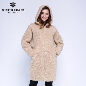 Image 2 - Hiver PALACE 2019 femmes nouveau manteau de laine longue à capuche manteau de fourrure longue à capuche Granule manteau de fourrure hiver chaud et coupe vent manteau de laine