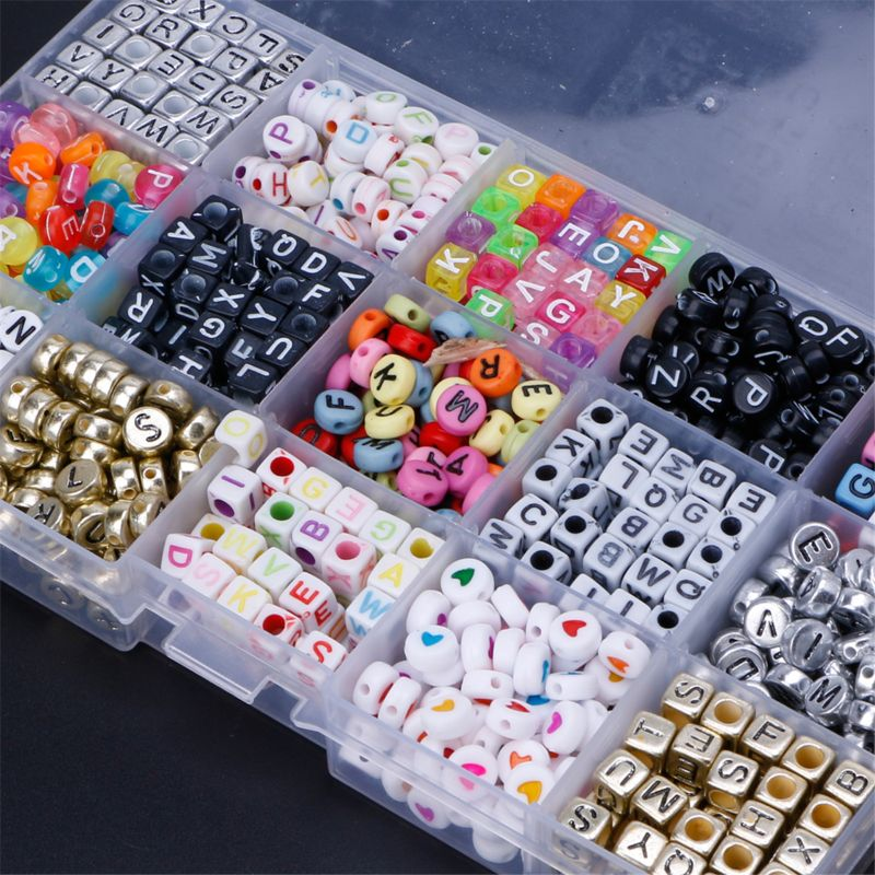 1100pcs 15 Color Acrylic Alphabet Letter Beads With 1 Roll Of Crystal String Cord, Beads For DIY Kandi Bracelets Key Chains Neck