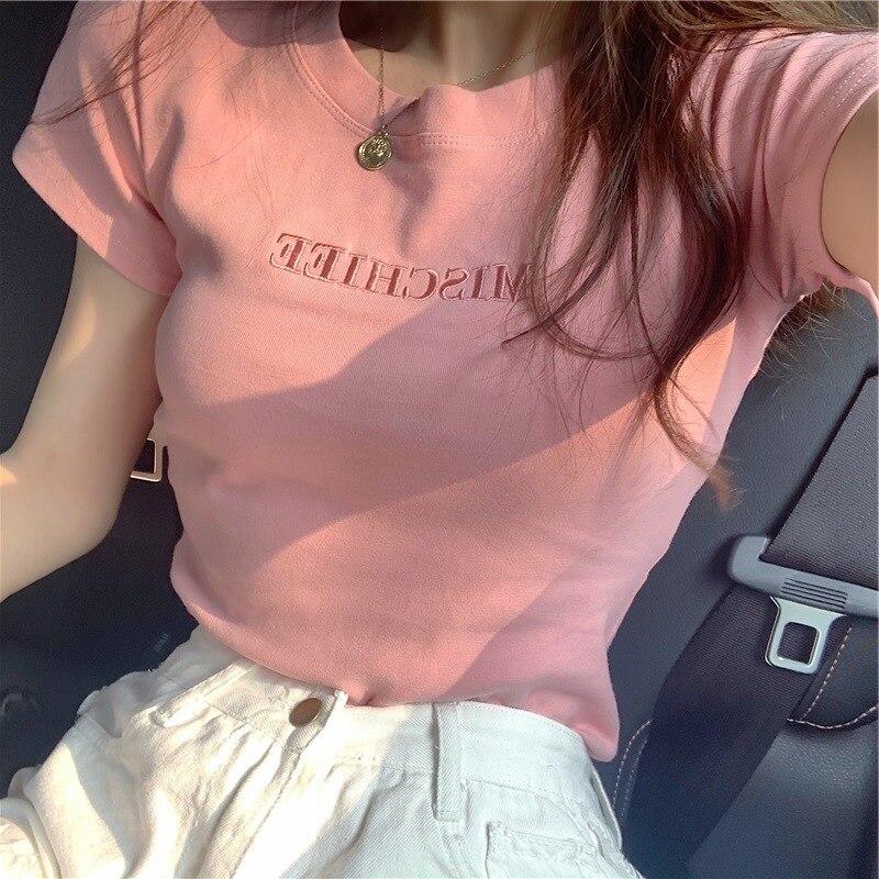 2020 t shirt Top T Shirt Women Tshirt Letter Embroidery Summer Korean New T shirt Female Slim Student WBXW21 T-Shirts  - AliExpress