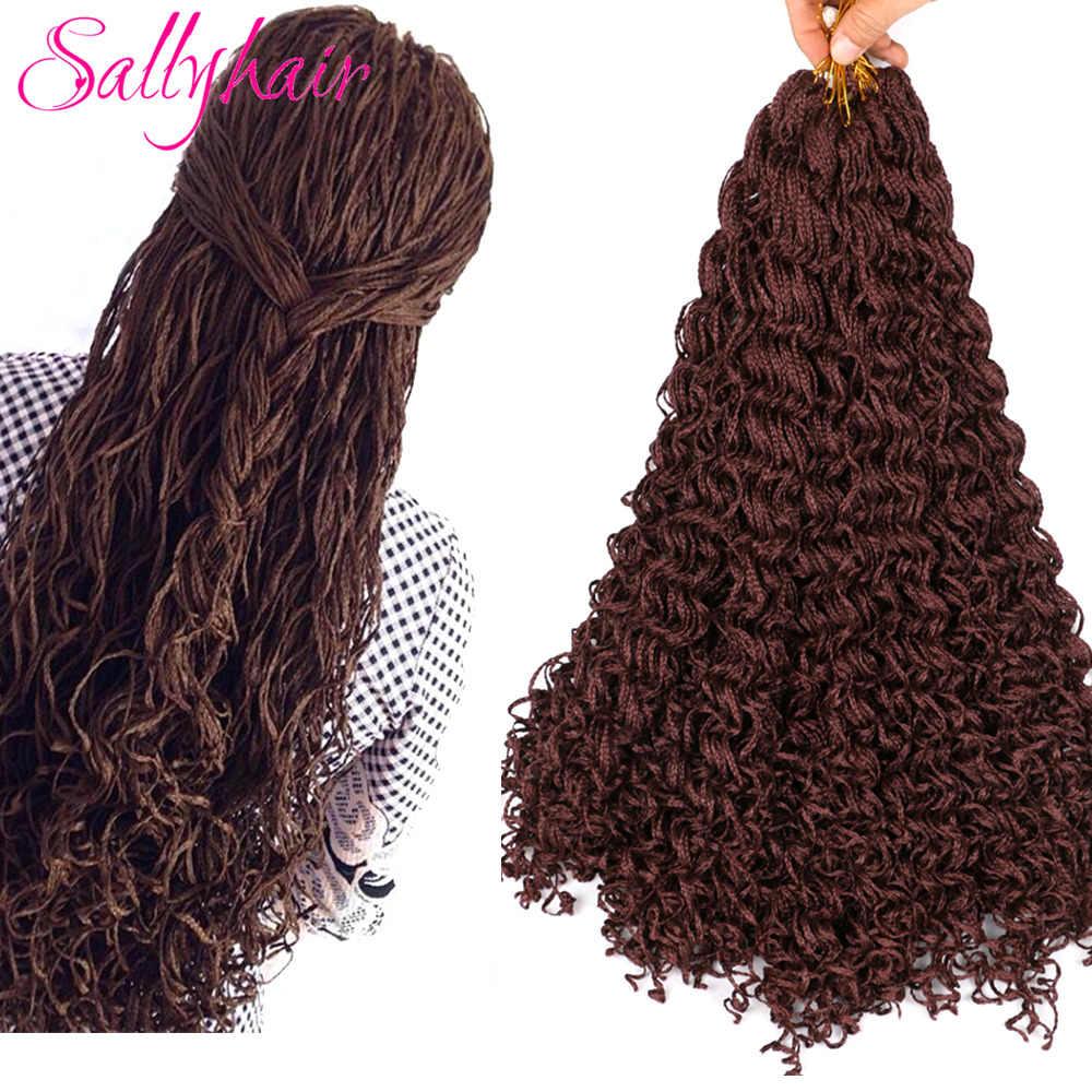 Sallyhair זיזי צמות סרוגה תיבת צמות צבעוני סינטטי שיער הרחבות חום בלונדינית גריי הסרוגה שיער 28 גדילים/חבילה
