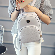 Women Backpack Leather School Bags For Teenager Girls Stone
