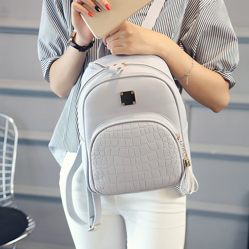 Women Backpack Leather School Bags For Teenager Girls Stone Sequined Female Preppy Style Small Backpack Ladies Travel Bag