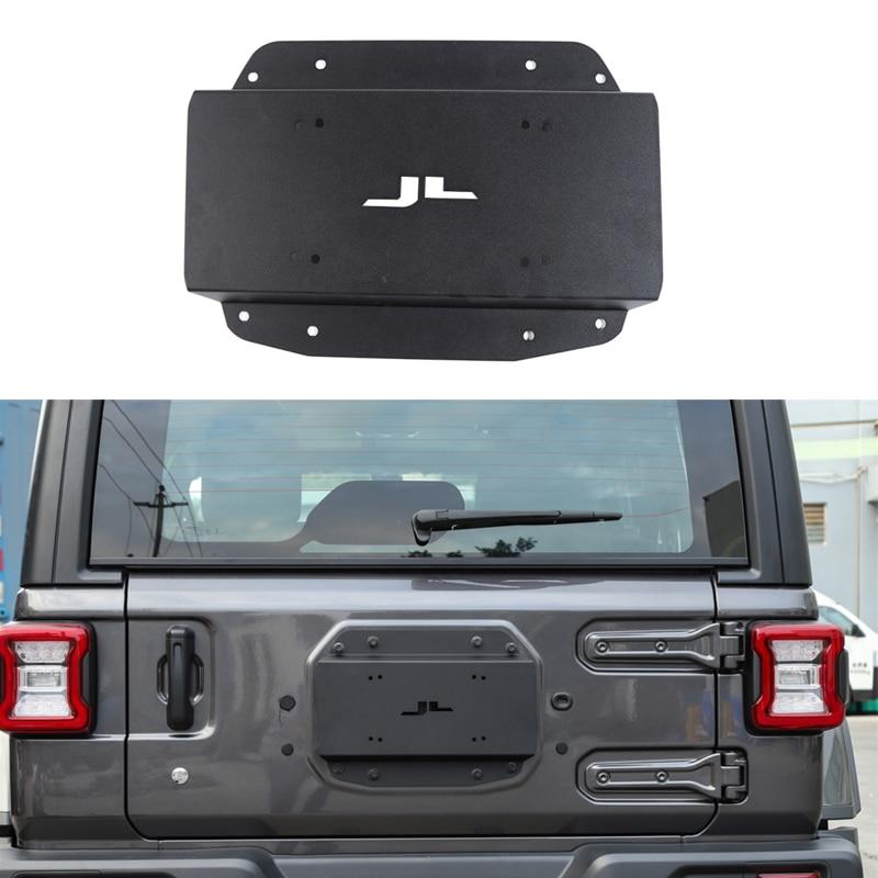 Bagageira do carro de reposição pneu transportadora excluir placa enchimento para jeep wrangler jl 2018 up preto liga alumínio painel exterior acessórios