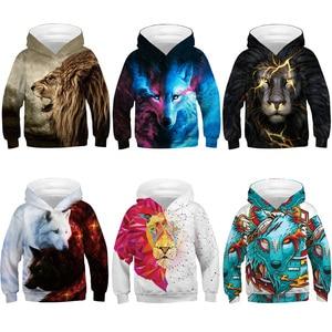 Image 2 - หมาป่า 3D พิมพ์เด็กชายหญิง Hoodies วัยรุ่นฤดูใบไม้ผลิฤดูใบไม้ร่วง Outerwear เด็ก Hooded Sweatshirt เสื้อผ้าเด็กแขนยาวเสื้อ