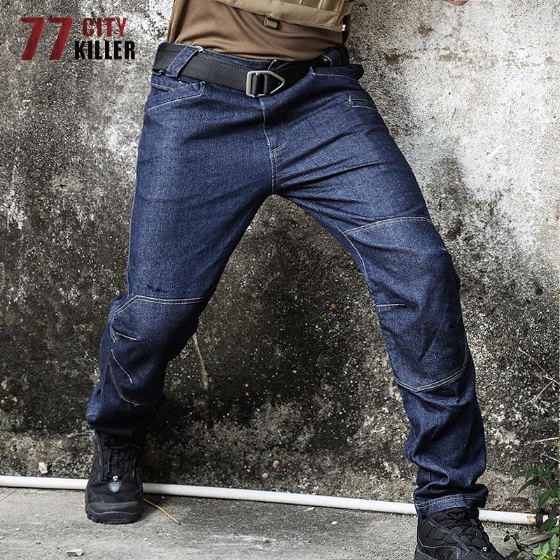 77City Killer Tactical Jeans Men Military Denim Men Pants Wearable Elasticity Combat Jeans Male SWAT Multi Pocket Joggers Hombre