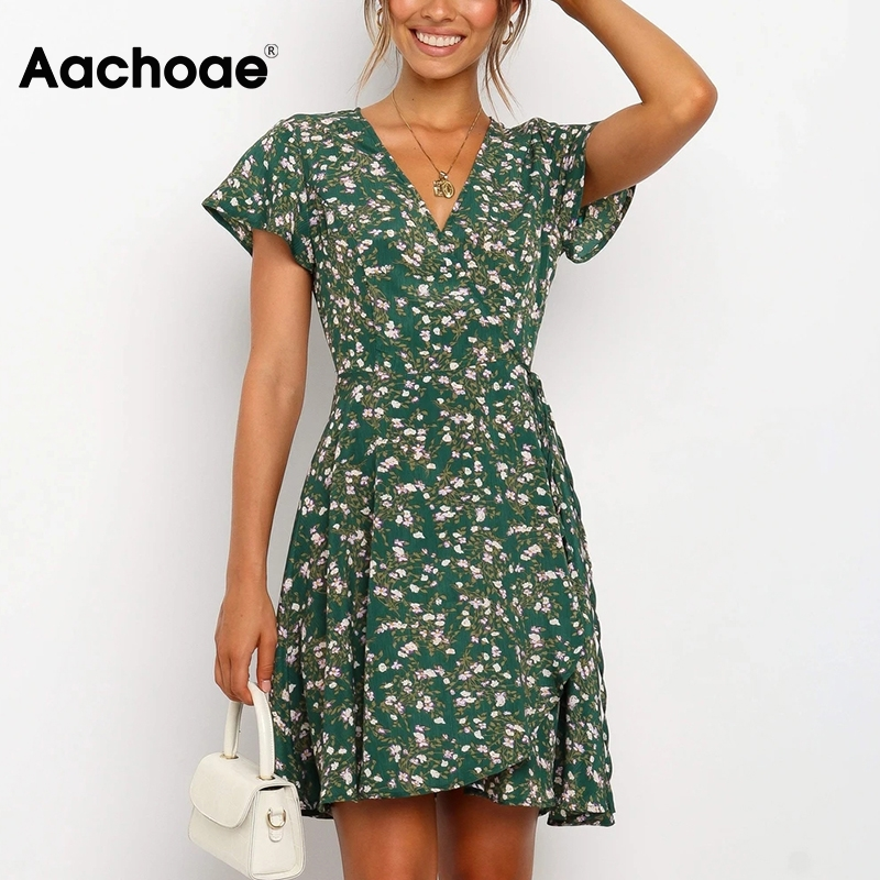 Aachoae Women V Neck Floral Print Dress Summer Casual Short Sleeve Mini Beach Dress Bandage Wrap Dresses Sundress Vestidos Mujer