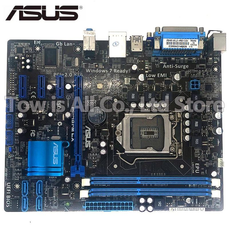 ASUS P8H61-M LX Original Motherboard DDR3 LGA 1155 USB2.0 16GB For I3 I5 I7 22/32nm H61 Desktop Motherboard