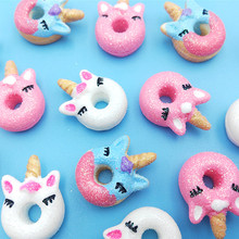 10PCS Unicorn Cute Charms Cabochons or Girl Hair Pin Jewelry Colors Resin Donut