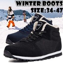 Botas masculinas sapatos de inverno moda botas de neve sapatos mais tamanho tênis de inverno tornozelo sapatos masculinos botas de inverno preto azul calçado