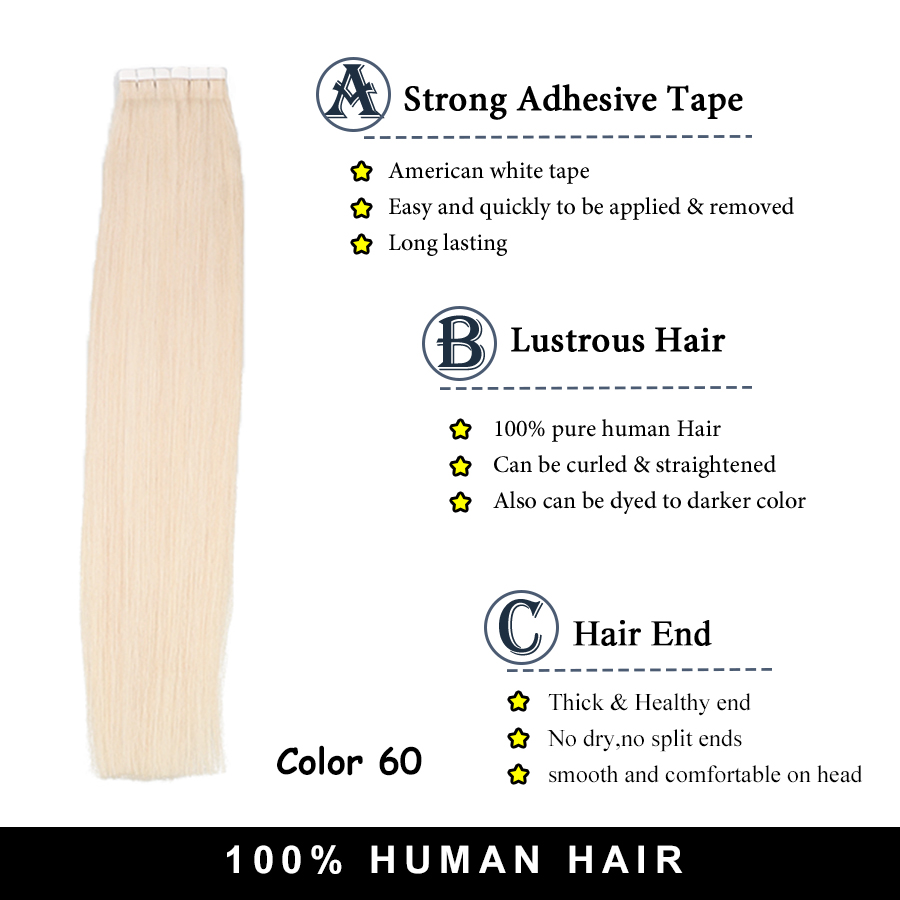 Toysww 2040pcs 100% Real Human Hair Russian Hair Tape in Hair Extensions Blonde #60 For Woman Machine Made Remy Hair (4)