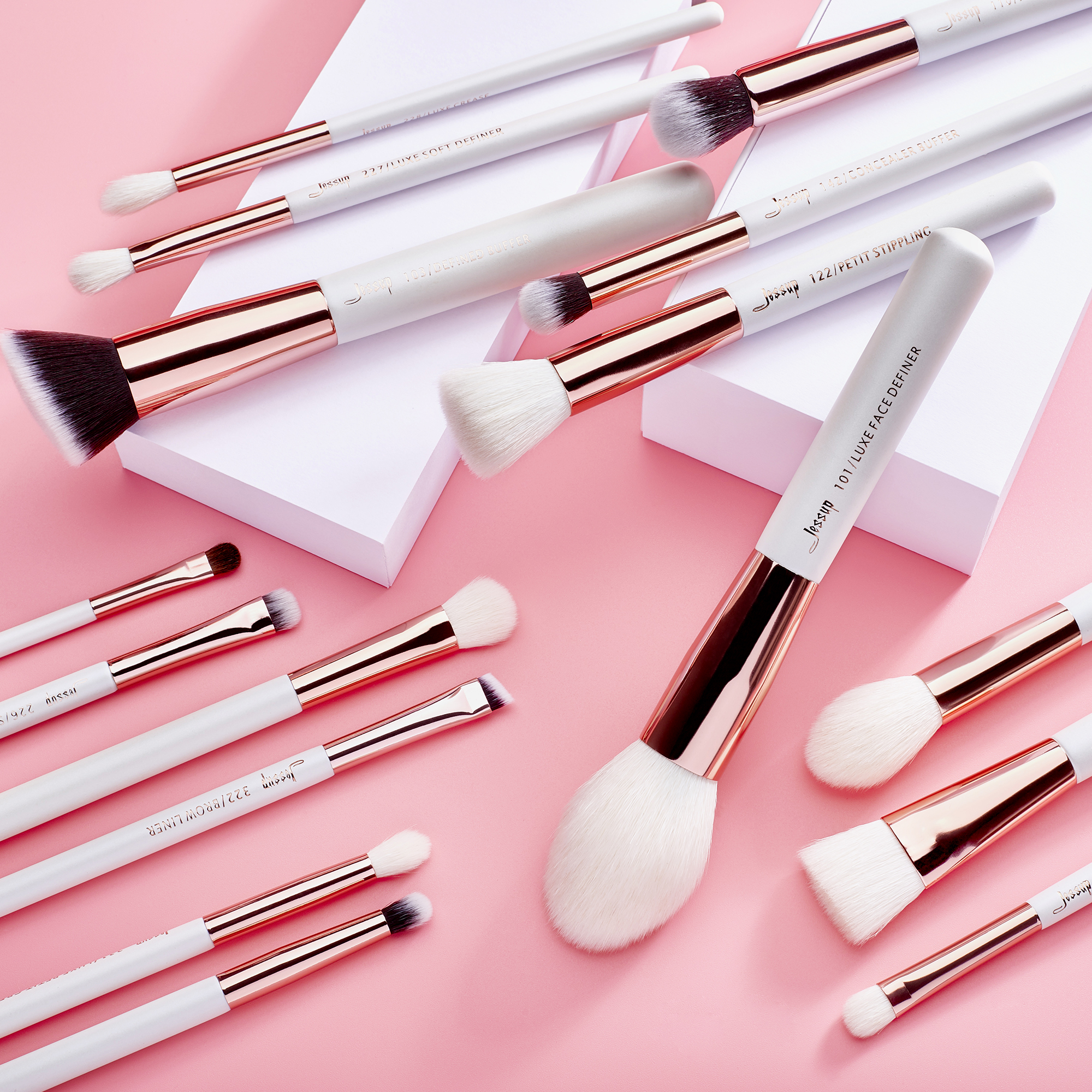 Jessup Makeup brushes set Pearl White / Rose Gold  2