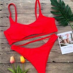 Сексуальный комплект бикини для женщин, Одноцветный бандаж, бикини, полый купальник, летний купальник с высоким вырезом, топ-труба, купальны... 4