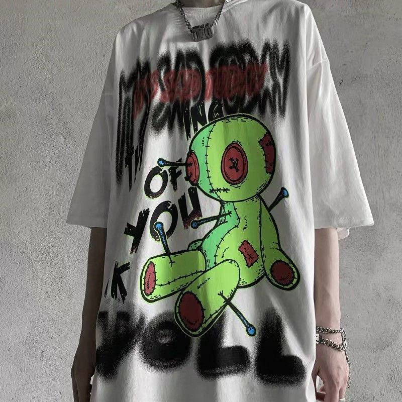 Male Female Japan Loose Gothic Hoodie Streetwear Women Funny Kpop Girls Boys Hip Hop Tops Funny High Street Rock Sweatshirt Tee