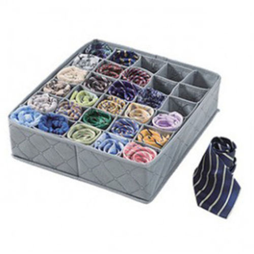 Storage Box 30 Cells Foldable Clothing Drawer Organizer Pouch Charcoal Underwear Socks Drawer Organizer Case Container
