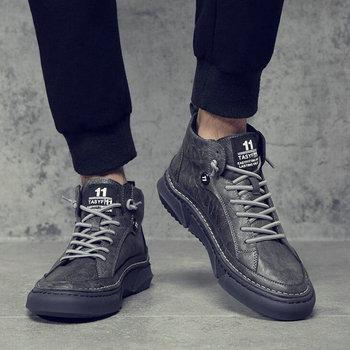 Spring New Men Fashion high top Sneakers Men Leather Shoes Men Zapatos Hombre Men Casual