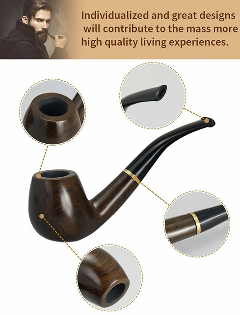 New 1 Smoking set Wood Smoking Pipe, Ebony Tobacco Pipe with Pipe Accessories (wooden) Men's Gadget Gift box