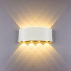 Kinkiet Led 8W oświetlenie W górę/W dół kryty podwójna głowica zakrzywiona wodoodporna ściana lampa nowoczesna lampka do sypialni ciepłe białe światło