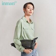 Женская блузка, однотонная, с отложным воротником и карманом, весенняя, inman, 2020