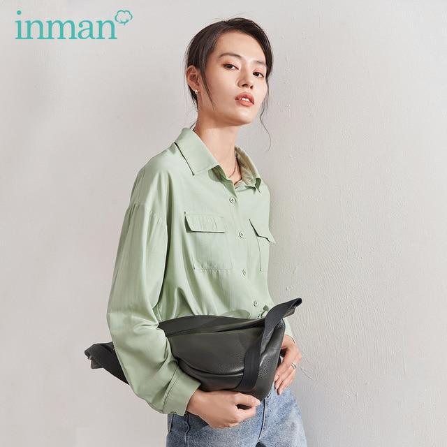 אינמן 2020 אביב חדש הגעה ספרותי מוצק צבע תורו למטה צווארון כיס יחיד חזה Loose סגנון נשים חולצה