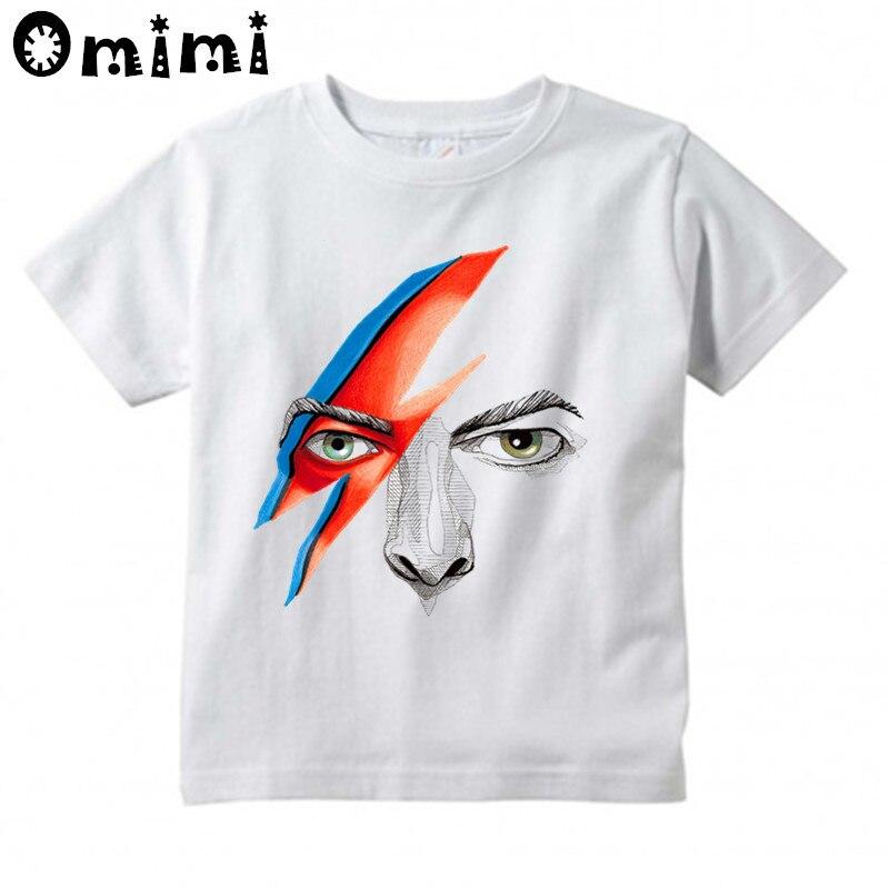 Футболка для мальчиков и девочек с винтажным принтом рок Боуи Дэвид Боуи Ziggy Stardust Детские Топы с коротким рукавом белая детская футболка