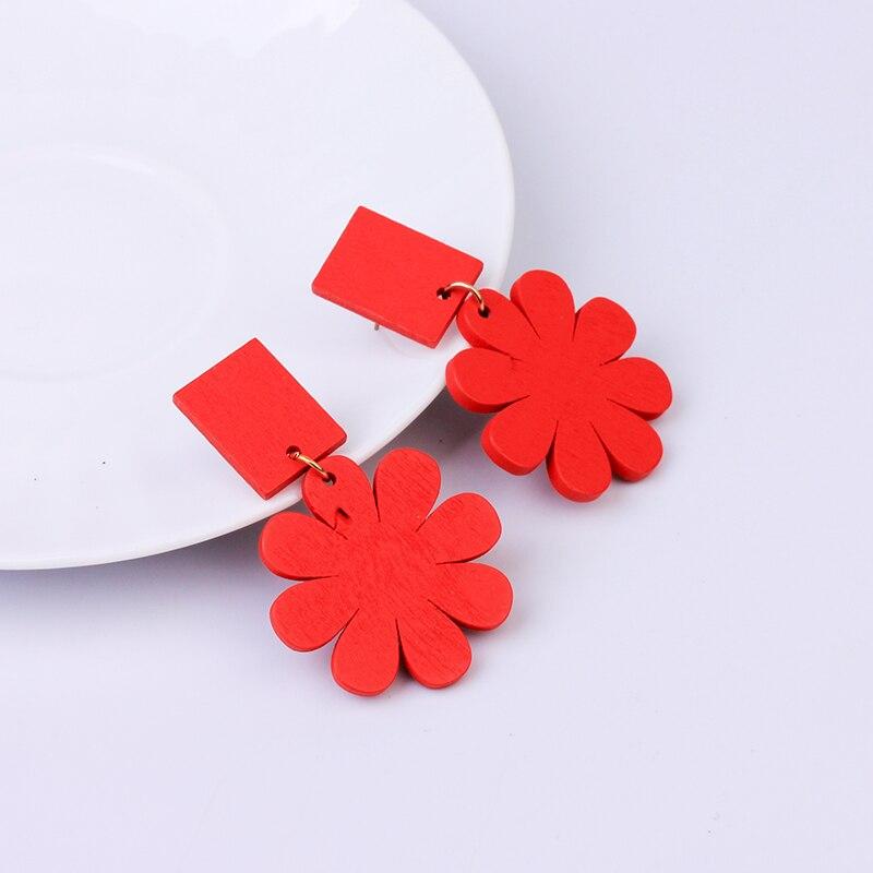 Fashion Korean Earrings for Women Dangle Red Yellow Blue Trendy Jewelry Drop Statement Colorful Flower Wooden Earrings Gifts