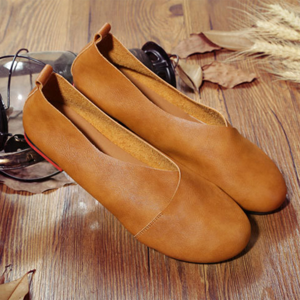2020 Genuine Leather Flat Shoes Woman Hand-sewn Leather Loafers Cowhide Flexible Spring Casual Shoes Women Flats Women Shoes