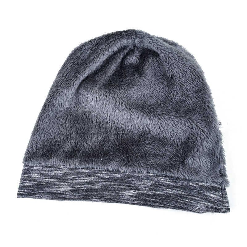 NUZADA düz renk kış şapka erkekler kadınlar için Skullies Beanie Hedging kap örme kapaklar pamuklu çift katmanlı kumaş kaput sıcak şapka