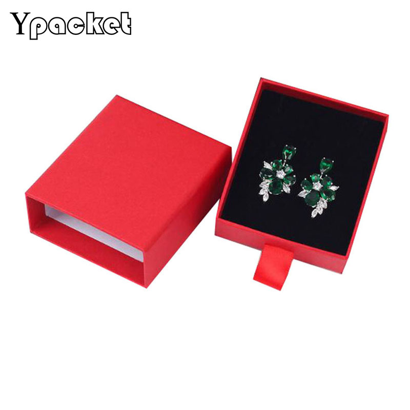 7x8x3cm Jewelry Box Necklace Pendant Packaging Case Earring Drawer Boxes Jewellery Organizer 3 Colors 40pcs/Lot