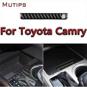 Image 1 - Mutips compartimento central para coche, cubierta de caja de almacenamiento, tira de ranura, embellecedor de fibra de carbono, moldura Interior para Toyota Camry 2018 2019
