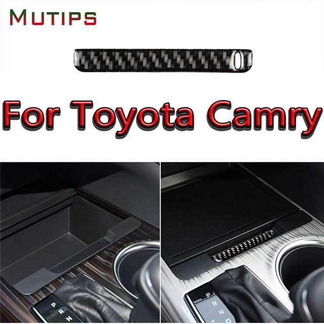 Mutips compartimento central para coche, cubierta de caja de almacenamiento, tira de ranura, embellecedor de fibra de carbono, moldura Interior para Toyota Camry 2018 2019
