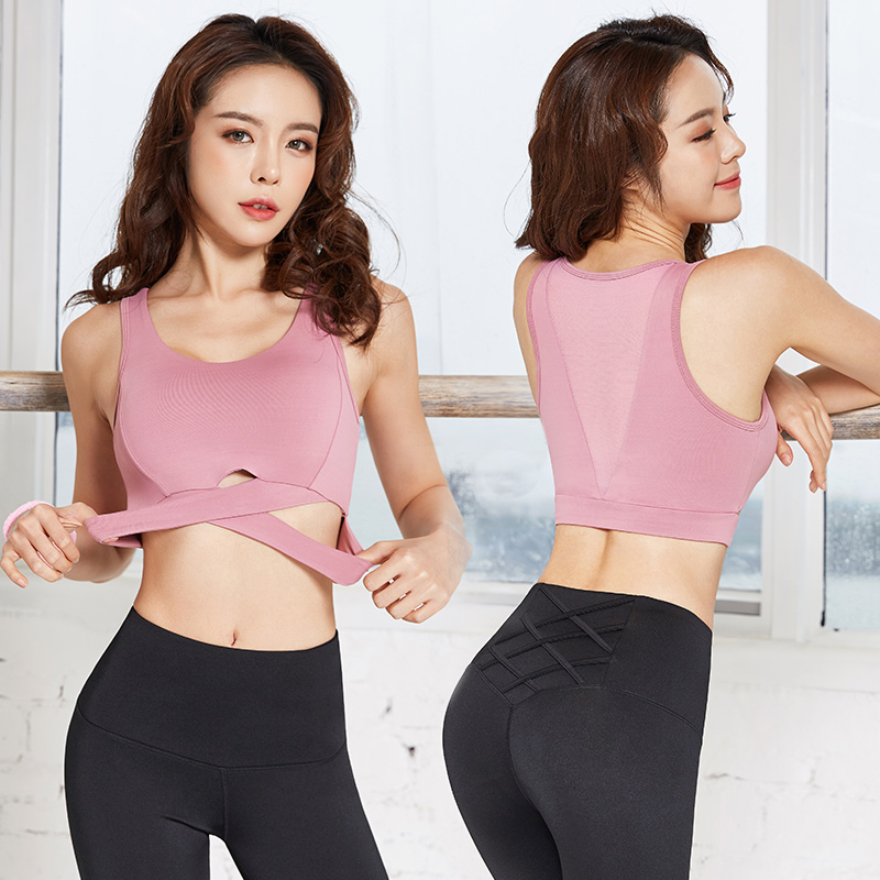 2019 Vansydical Women Mesh Yoga Tops Cross Straps Sports Bras Fitness Workout Padded Crop Tops image
